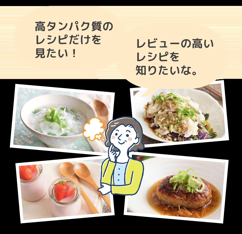 高タンパク質のレシピだけを見たい!レビューの高いレシピを知りたいな。