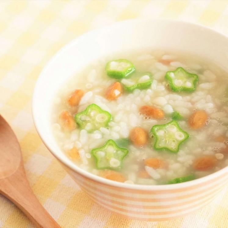 納豆とオクラのお粥