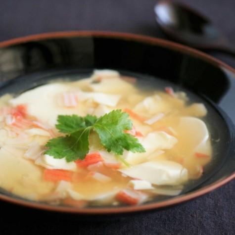 豆腐とカニカマのスープあん