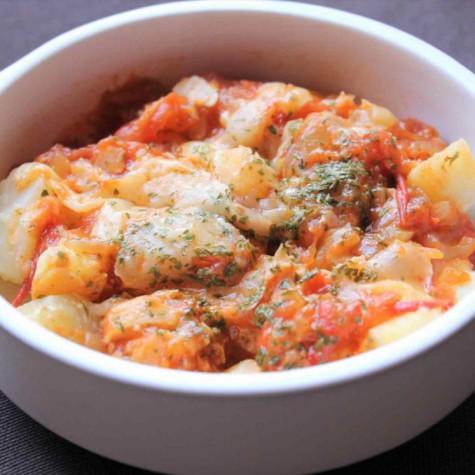 ポテトと大豆のトマトグラタン
