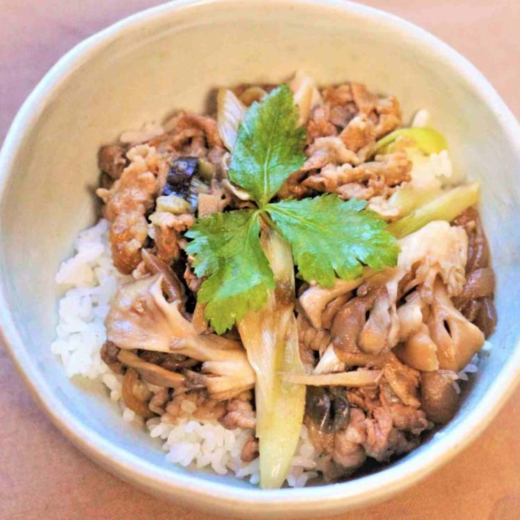 舞茸とナスの生姜牛丼