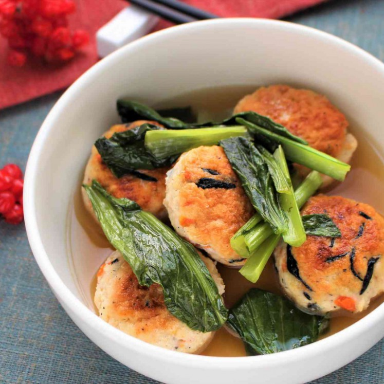 小松菜と豆腐つくねのだし煮