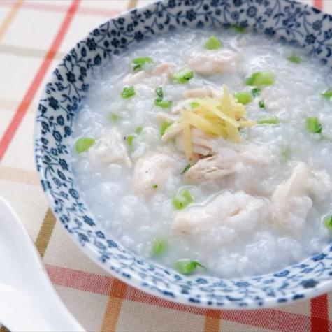 鶏と菜っ葉の生姜粥