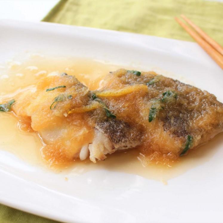 白身魚の柚子おろしかけ