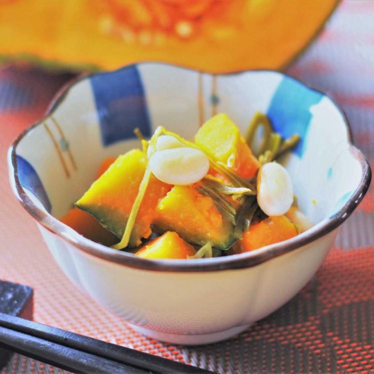 かぼちゃと大豆の昆布和え