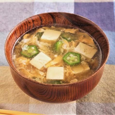 オクラと豆腐のかき玉スープ