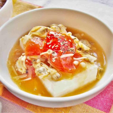 あさりとトマトの洋風あんかけ豆腐