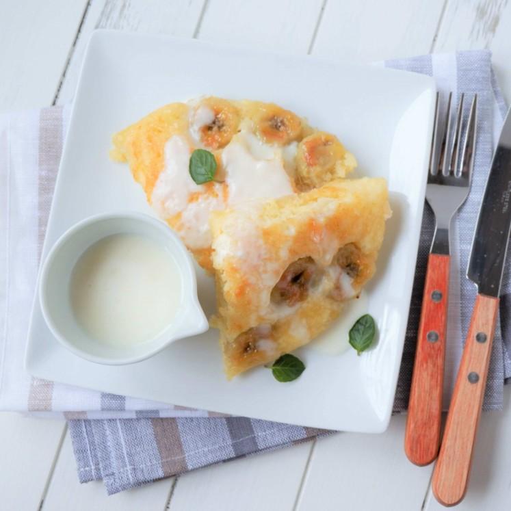 焼きバナナとヨーグルトのホットケーキ