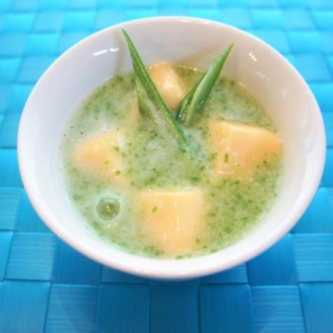 おくらと山芋の冷製すり流し~卵豆腐かけ~